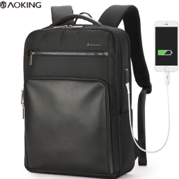 Aoking men's black business backpack with USB charging port